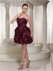 Burgundy Taffeta Lace Up Short Dress For Public Ballroom Dance