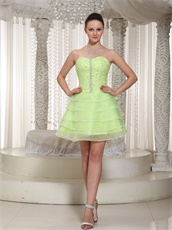 Lovable Yellow Green Freshness Cake Layers Short Homecoming Party Dress