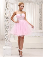 Popular Strapless Baby Pink Mini Prom Dress For Chorus Performance