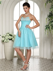Brilliant Beaded Sweetheart Aqua Blue Drinking Party Dress Designer Recommend