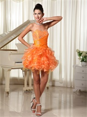 Absorbing Sweetheart Orange Cascade Ruffles Girl Cocktail Dress On Sale