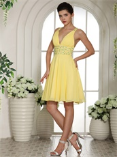 Bright Yellow Sexy Deep V Neckline Short Prom Cocktail Dress Cross Back