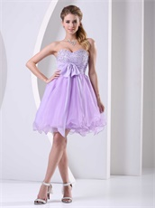 Classical Style Lilac Empire Waist Short Annual General Prom Dress