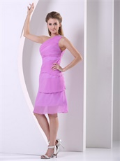Cheap One Shoulder Lilac Layers Knee-length Mother Wedding Dress Demure