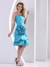 Turquoise Short Taffeta Maiden Girl Prom Dress With Large Rose Flowers
