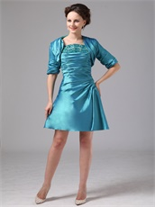 Teal Taffeta Mother Of The Bride Knee Length Dress With Jacket Modest