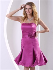 Dark Magenta Strapless Short Prom Gowns For Young Lady Portrait