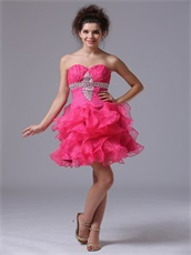 Mini-length Hot Pink Organza Ruffles Short Dress For Private Wine Party