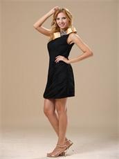 Fully Ruching Chiffon Short Black Graduation Dress With Gold Neck Finish