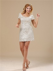 Square Neck Sheath Mini-length Champagne Mother Prom Gowns With Short Sleeves