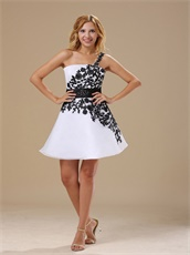 One Shoulder Mini-length White Graduation Dress With Black Lace