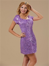 Paillette Over Skirt Mini-length Scoop Sexy Prom Dress With Short Sleeves