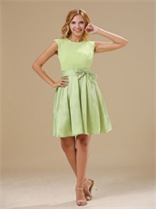 Warrensburg Yellow Green Knee-length Scoop Short Prom Dress With Bowknot