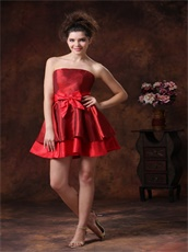 Marroon and Scarlet Taffeta Two Layers Two Colors Prom Dress Short