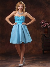 Baby Blue Sweetheart Beaded Sweet 16 Dress For Petite Girl