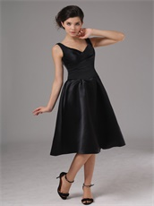 Simple Black Satin V-neck Knee Length Cheap Prom Dress No Beading