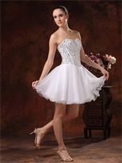 Crystals Bodice Sweetheart Short White Prom Dress For Girls
