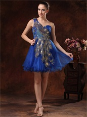 Single Shoulder Dark Royal Cocktail Drinking Dress Peacock Tail