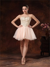 Fully Bedaing Short Event Dress Multicolor Tulle Ivory With Blush Inside