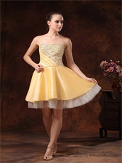 Beautiful Gold Beaded Knee-length Prom Dress Girls Wear