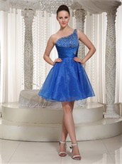 Royal Blue Organza One Shoulder Beaded Bodice Cocktail Dress For Gathering