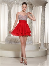 Fully Crystals Spaghetti Straps Summer Wedding Guest Red Dress Mini-length