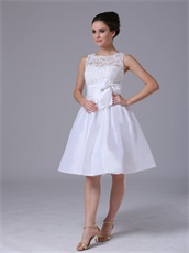 Taffeta Scoop Knee-length Short Beach Prom Dress With Bowknot