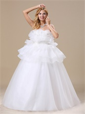 Strapless Flouncing Cover Belly Organza Wedding Dress For Maternity