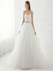 Contracted Style Sweetheart Puffy Cheap Wedding Bride Dress With Crystals