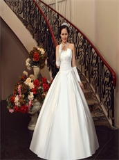 Simple Concise High Quality Satin Puffy Bridal Wedding Dress Bowknot Back