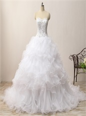 Ruffles Skirt Affordable White Court Train Wedding Gowns China