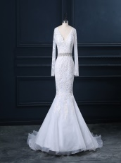 Diamond Belt Details Mermaid Lace Bridal Dress At Cheap Price