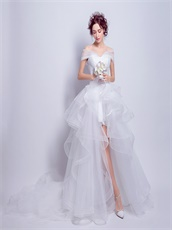 Ruched V neck High Low White Tulle Beach Wedding Dresses Princess