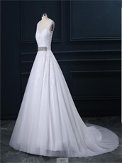 For Sale Puffy White Appliques Wedding Dress With Rhinestone Sash