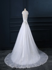 Puffy Appliques Design Train Wedding Bride Dress With Lace Border