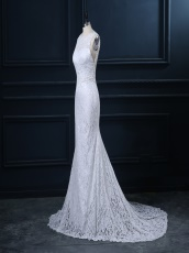 Scoop Lace Column Elegant Wedding Dress Train With Bead Curtains Backside