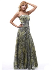 Leopard Strapless Prom Dress Lace-up For Performance Wear