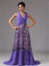 Halter Crossed Tie Empire Amethyst Prom Dress Covered Printed Pattern