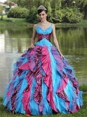 Auqa Organza and Fuchsia-Black Zebra Consecutive Ruffles Quinceanera Dress Puffy