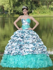 Apple Green Printed Floral Bubble Train Sunshine Quinceanera Gowns Boutique