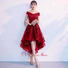 Red V neck Lace Homecoming Dresses High Low For Young Girl