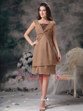 Modest Empire Square Brown Mother Of The Bride Dress Short Modest
