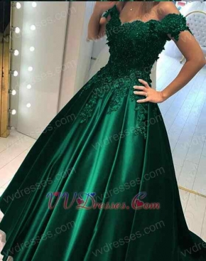 Hunter Green Appliques Sation Prom Gowns Lady V neck Real Products Show