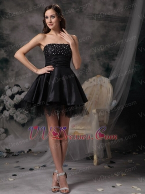 Black A-line Strapless Short Dress For Prom Party 2014 Knee Length Sexy