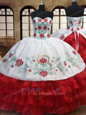 Western Embroidery White Quinceanera Court Gown With Red Layers Ruffles Skirt