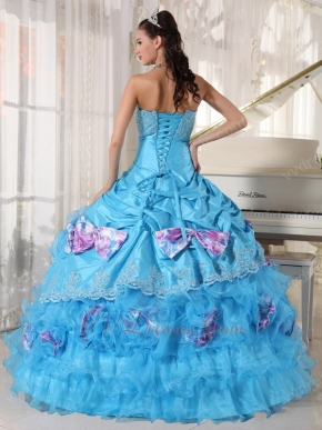 Sky Blue Sweetheart Quinceanera Dress With Printed Bowknot
