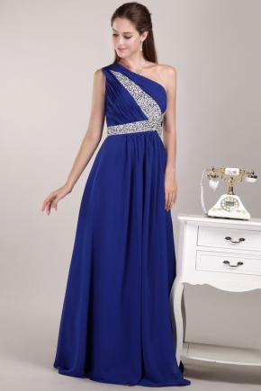 Beaded One Shoulder Royal Blue Chiffon Quality Prom Dress Cheap