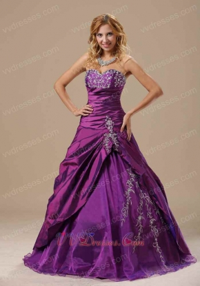 Purple Taffeta Embroidery Quinceanera Court Dress Not Very Puffy