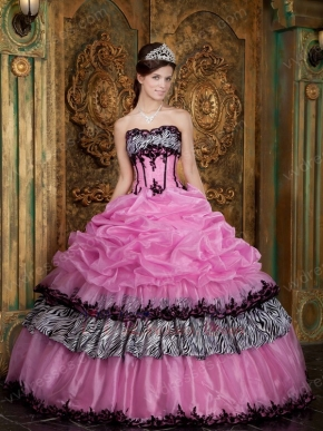 Pink Layers Skirt With Zebra Fabric Quinceanera Dress Cheap
