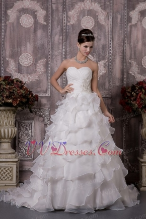 Classical Sweetheart Ruched Cascaden Layers Skirt Bridal Gowns Low Price